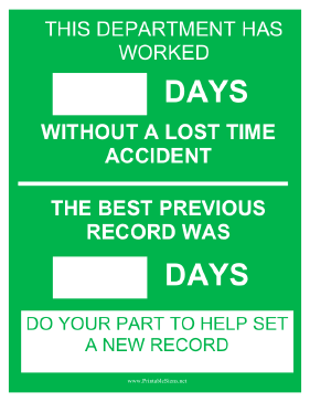 Department Safety Record Sign
