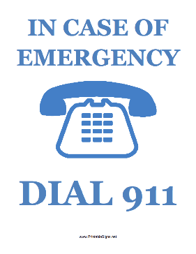 Dial 911 Sign