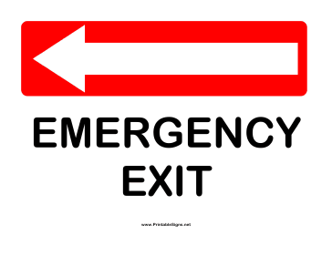 Directions Emergency Exit Left Sign