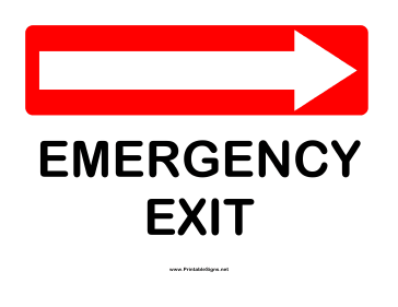 Directions Emergency Exit Right Sign