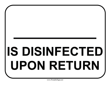 Disinfected Item Sign