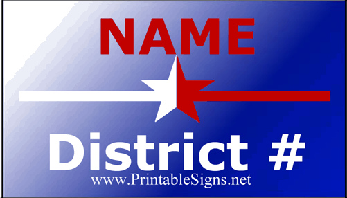 District Sign Palm Cards Sign