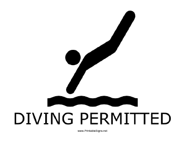 Diving Permitted with caption Sign