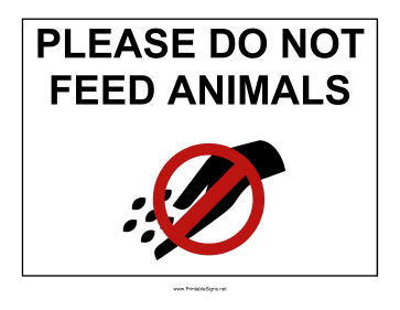 Do Not Feed Animals Sign