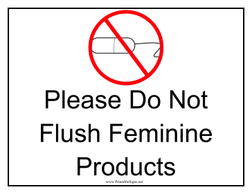Modest image within free printable do not flush signs