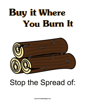 Don't Bring in Firewood Sign Sign
