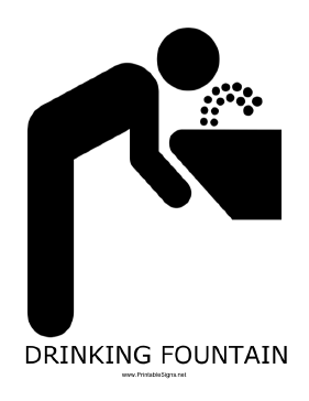 Drinking Fountain with caption Sign
