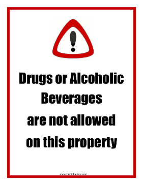 Drugs Alcohol Not Allowed Sign