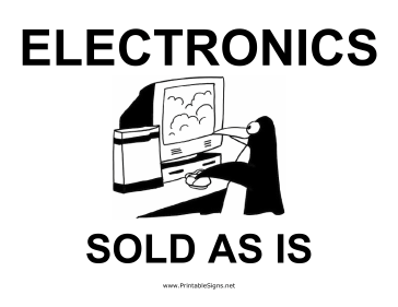 Electronics Yard Sale Sign