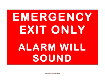 Exit Alarm Will Sound Sign