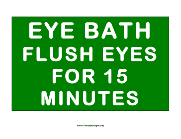 Eye Bath Instructions Sign
