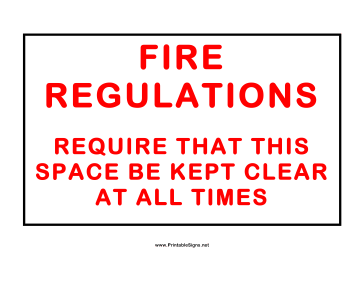 Fire Regulations Sign