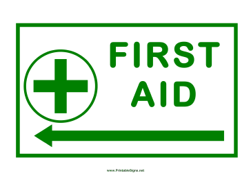 First Aid Arrow Cross Left Sign