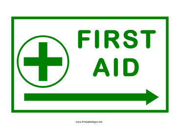 First Aid Arrow Cross Right Sign