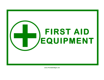 First Aid Equipment Cross Sign