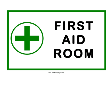 First Aid Room Cross Sign
