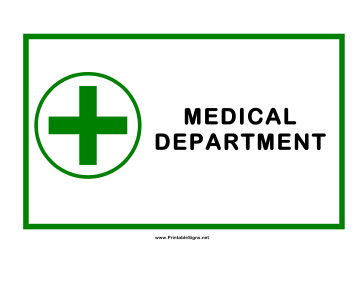 Medical Department Cross Sign