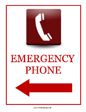 Emergency Phone Left Sign