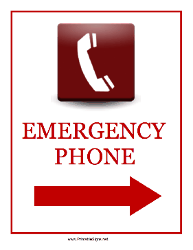 Emergency Phone Right Sign