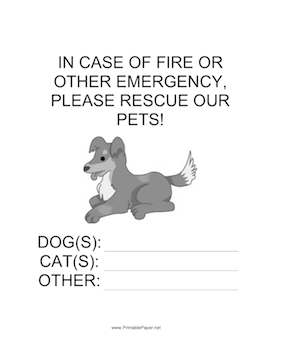 Emergency Rescue for Dog Sign