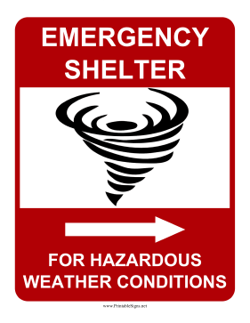 Emergency Shelter For Hazardous Weather Conditions Right Sign