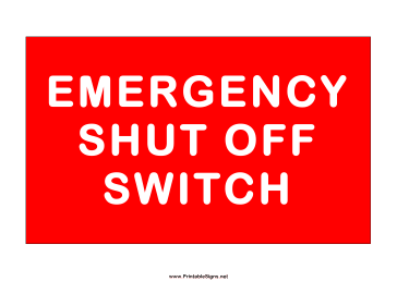 Shut Down Switch Sign