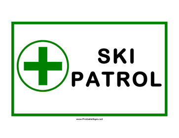 Ski Patrol Cross Sign