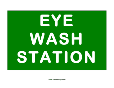 Station Eye Wash Sign