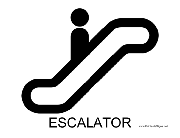 Escalator with caption Sign