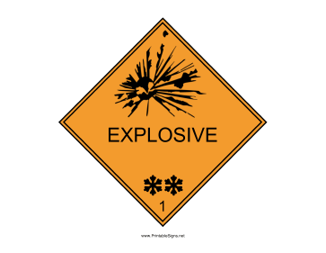 Explosive Warning Sign Sign
