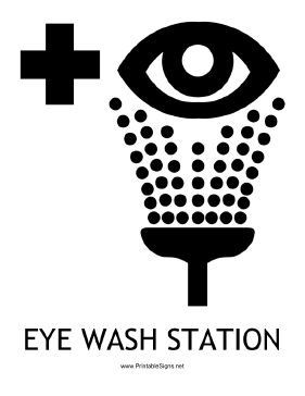 Eye Wash Station with caption Sign