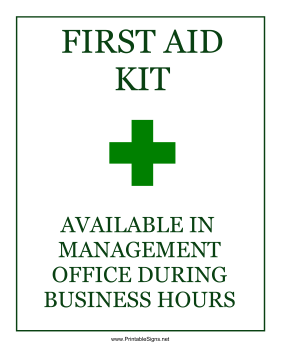 First Aid Business Hours Sign