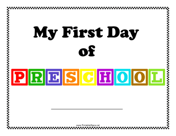 First Day Of Preschool Sign Sign