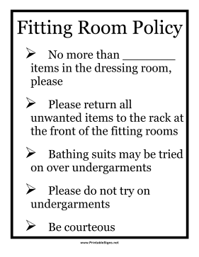 Fitting Room Policy Sign