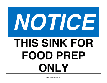 Food Prep Only Sink Sign