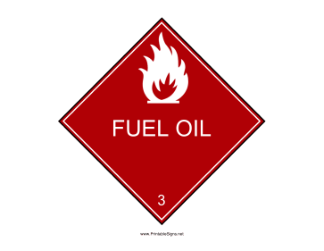 Fuel Oil Warning Sign