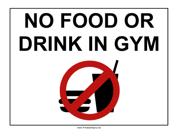 Gym No Food Sign