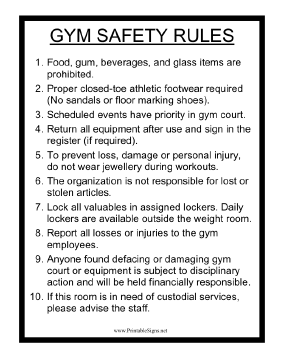 Gym Safety Rules Sign
