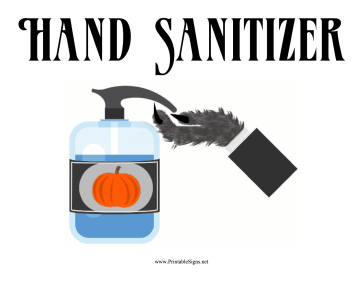 Halloween Hand Sanitizer Sign Sign