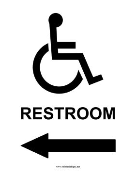 Handicap Restroom Left Sign
