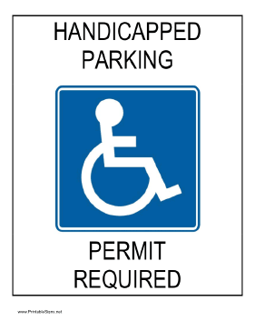 Handicapped Parking Permit Required Sign