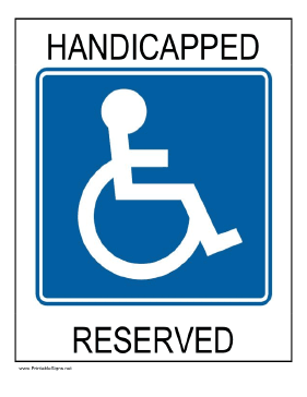 Handicapped Reserved Sign