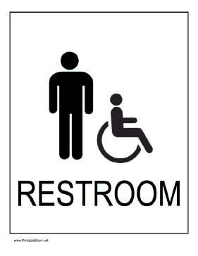 Handicapped Restroom Men Sign