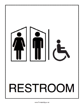 Handicapped Restroom Men Women Sign