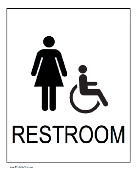 Handicapped Restroom Women Sign