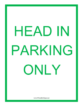 Head in Parking Sign