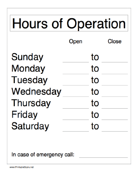 hours of operation template