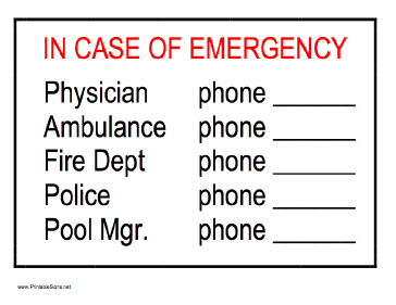 In Case Of Emergency - Phone Numbers Sign