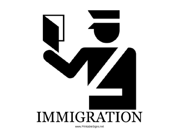 Immigration with caption Sign