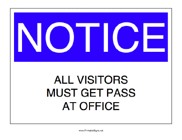 Visitor Pass Required Sign